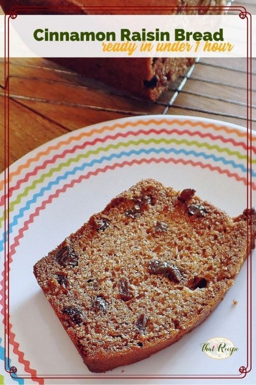 "slice of bread on a plate with text overlay ""cinnamon raisin bread"""