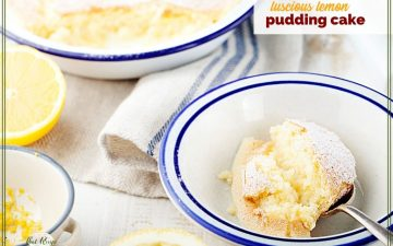 """pudding cake in a bowl with text verlay """"lemon pudding cake"""""""