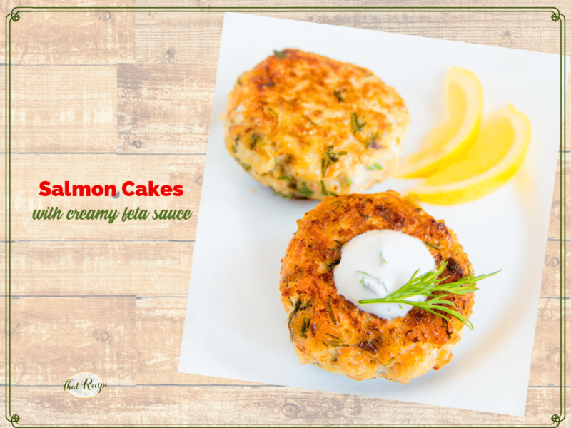 """salmon cakes on plate with text overlay """"zesty salmon cakes and feta sauce"""""""