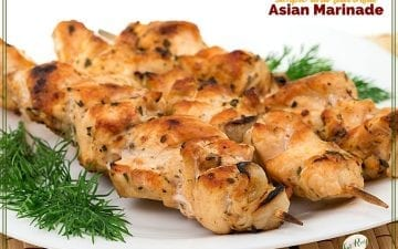 """chicken skewers on a plate with text overlay """"easy and flavorful Asian marinade"""""""