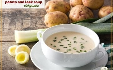 "potato soup in a bowl surrounded by potatoes and leeks and text overlay ""vichyssoise potato and leek soup"""