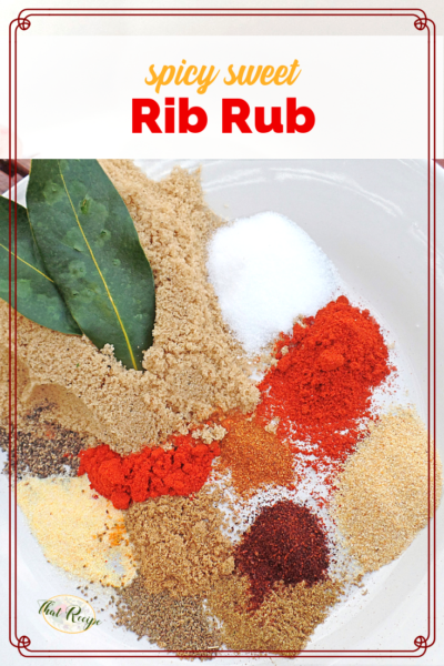 "spices on a plate with text overlay ""sweet and spicy rib rub"""