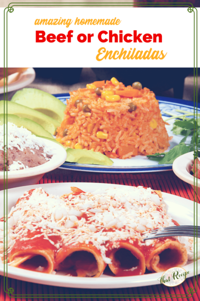 plate of red enchiladas with other Mexican foods.