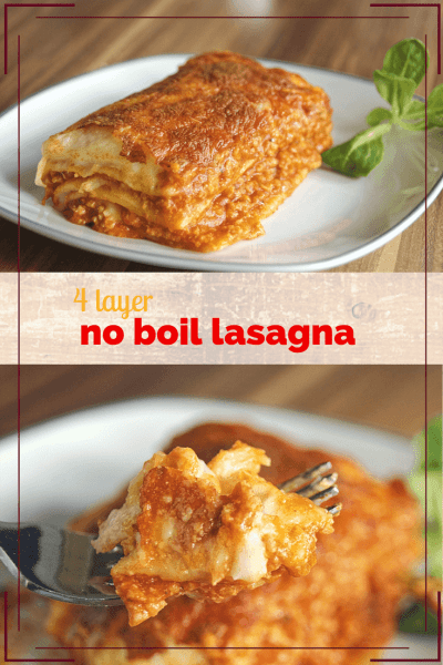 4 Layer No Boil Lasagna: the original back of the package recipe from Barilla for deep dish lasagna made with no boil pasta. #lasagna #recipe