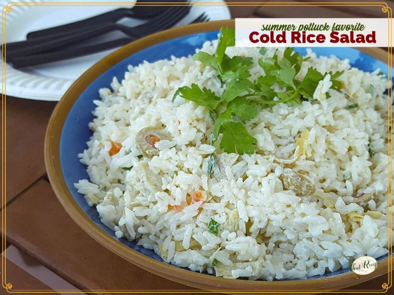 cold rice salad in a bowl