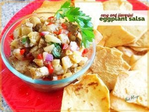 """plate of salsa and chips with text overlay """"easy and flavorful eggplant salsa"""""""
