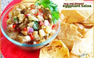"plate of salsa and chips with text overlay ""easy and flavorful eggplant salsa"""