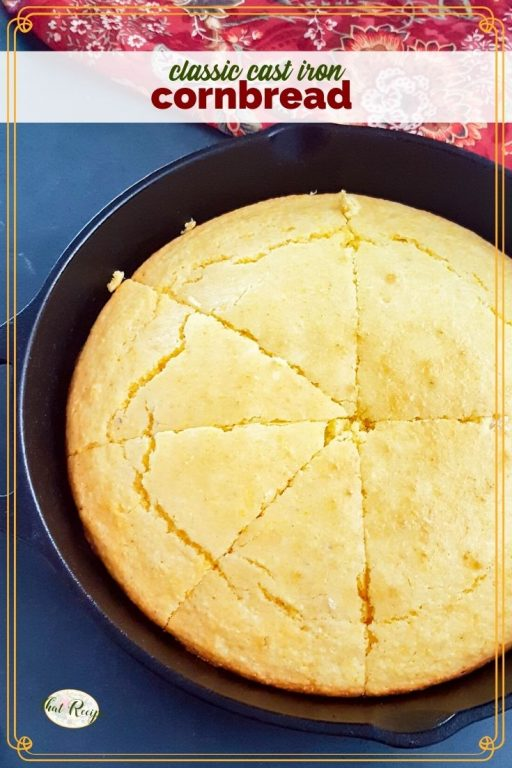 top down view of cornbread in a cast iron skillet