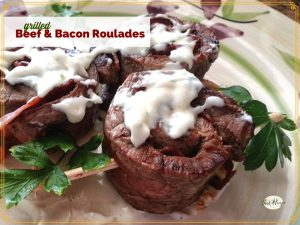 """rolled beef skewers with text overlay """"Beef and Bacon Roulades"""""""