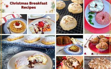 "collage of holiday breakfasts with text overlay ""make ahead Christmas Breakfast Recipes"""