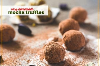 "truffles rolled in cocoa powder on a board with tect overlay ""easy homemade mocha truffles"""