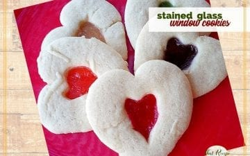 plate of heart shaped cookies with candy centers