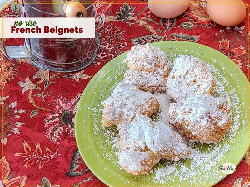 """beignets on a plate with text overlay """"no rise French Beignets"""""""