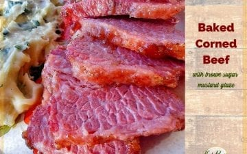 "sliced corned beef with colcannon and text overlay ""Baked Corned Beef with brown sugar mustard glaze"""