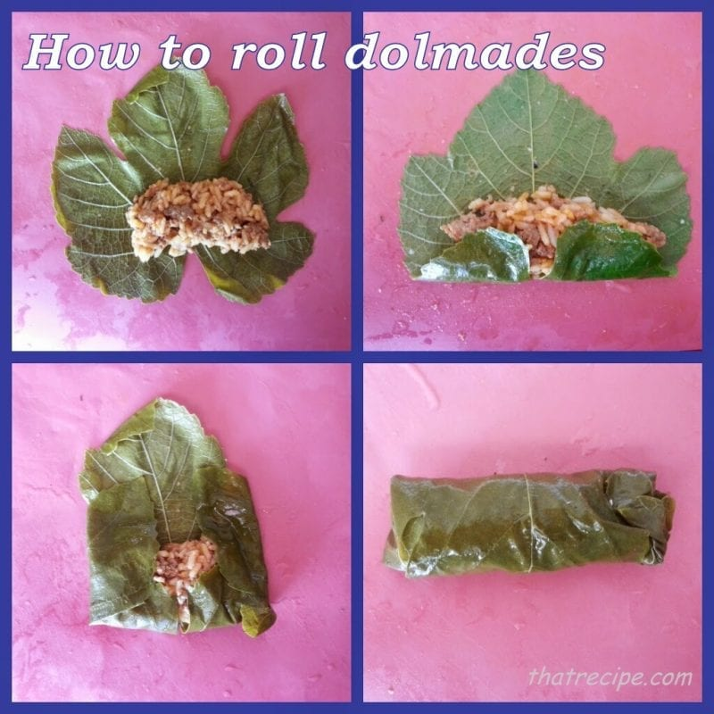 How to roll Dolmades - stuffed grape leaves.