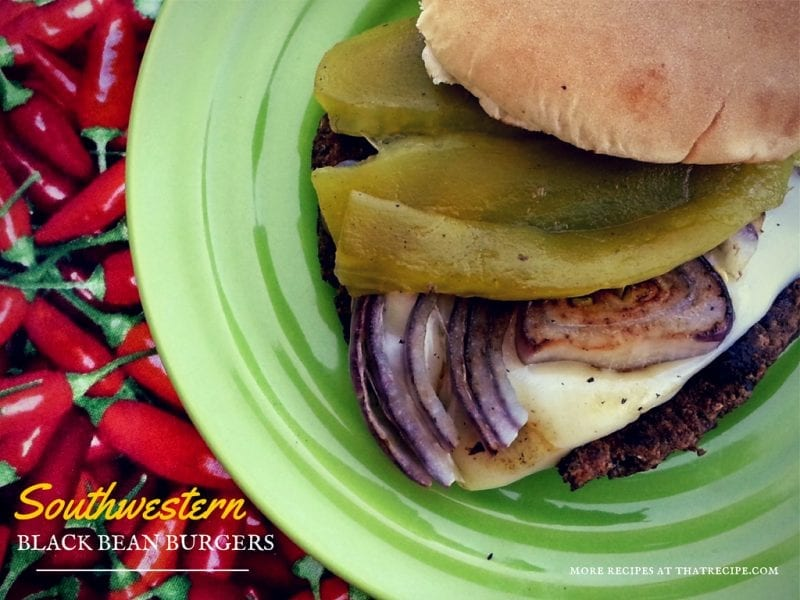 Meatless New Mexican Chile Burger on a plate