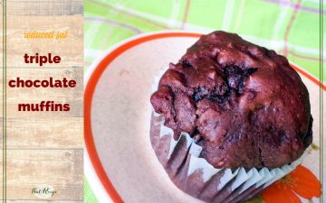 "triple chocolate muffin on a plate with text overlay ""reduced fat triple chocolate muffin"""
