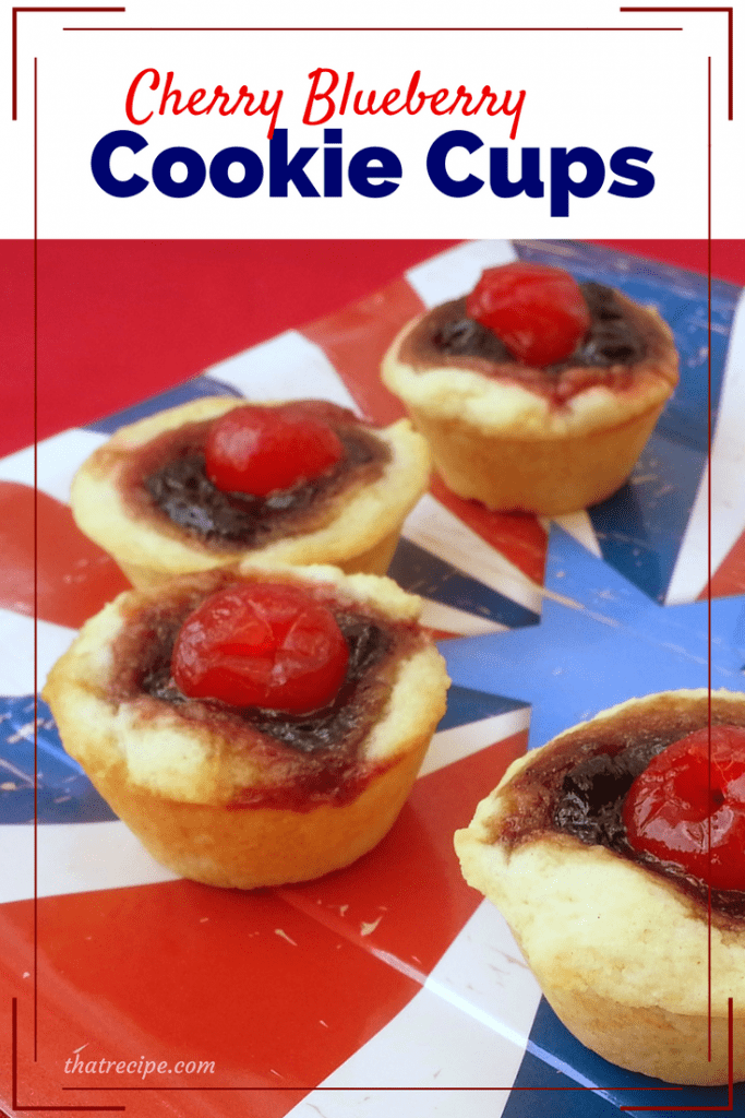 These red, white and blue Cherry Blueberry Cookie Cups are great for Memorial Day, Independence Day or any day you want a little fruity cookie.