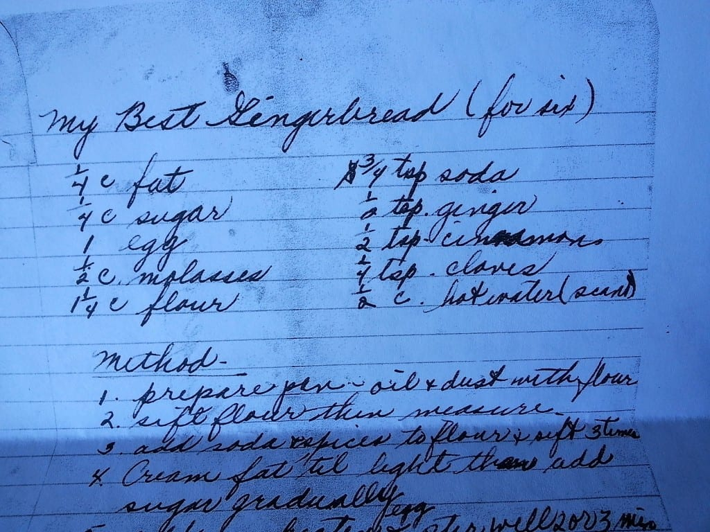 Gingerbread recipe in Aunt Jeanne's handwriting