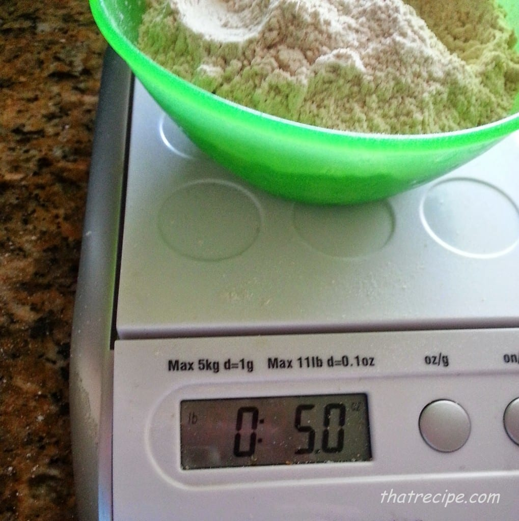weighing the flour