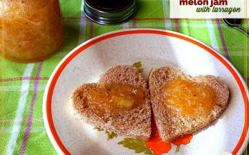 """yellow jam on heart shaped toasts with text overlay """"melon jam with tarragon"""""""