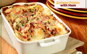 casserole dish of scalloped potatoes with ham