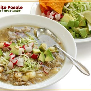 "soup in a bowl with text overlay ""White Posole"""