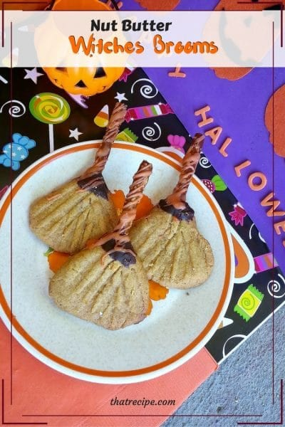 Witch Broom Cookies - Cute Halloween cookies made with flourless peanut butter cookies, pretzels and chocolate to look like a Witches Broom. gluten free