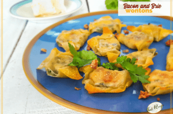bacon and brie wontons on a plate