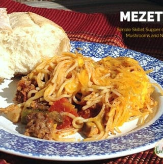 """mezetti on a plate with bread with text overlay """"one pot beef, mushroom and noodle casserole"""""""