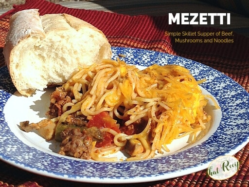 "mezetti on a plate with bread with text overlay ""one pot beef, mushroom and noodle casserole"""