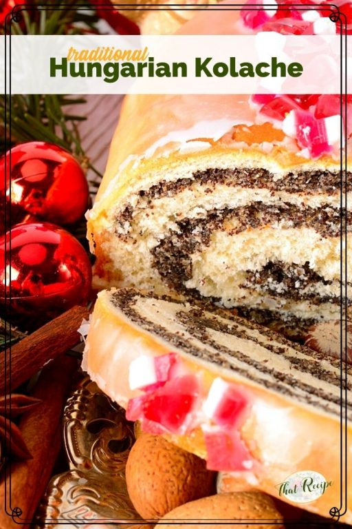 """poppy seed roll on a plate with text overlay """"traditional Hungarian Kolache"""""""
