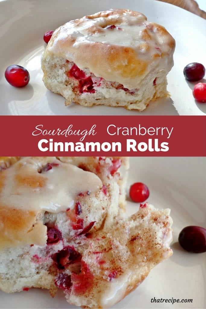 Sourdough Cranberry Cinnamon Rolls - sourdough cinnamon rolls studded with fresh or frozen cranberries.