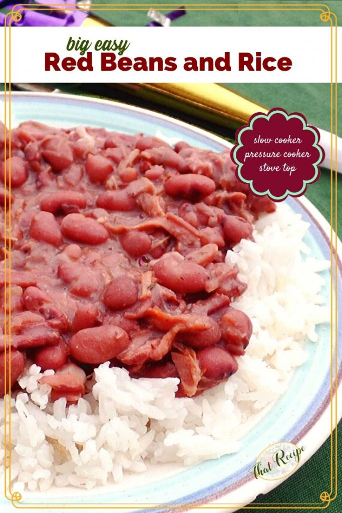 close up of red beans and rice on a plate with mardi gras horn