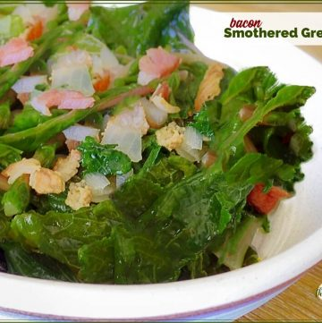 bowl of turnip greens with bacon and onions