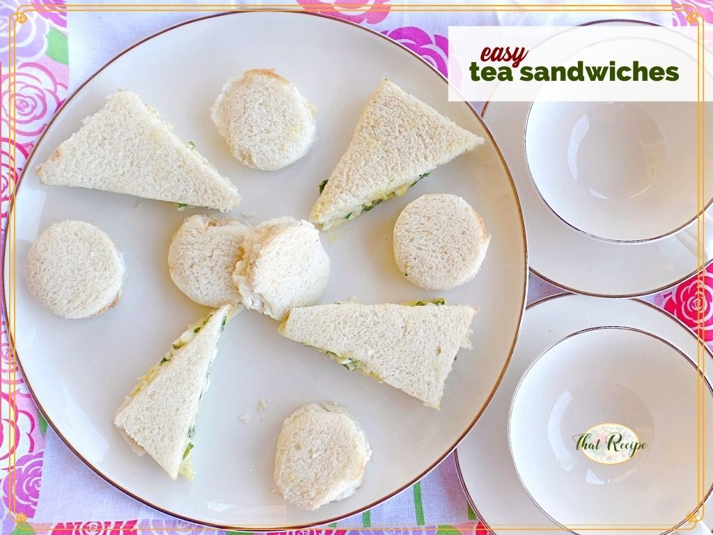 """cucumber sandwiches and watercress sandwiches on a plate with text overlay """"easy tea sandwiches"""""""