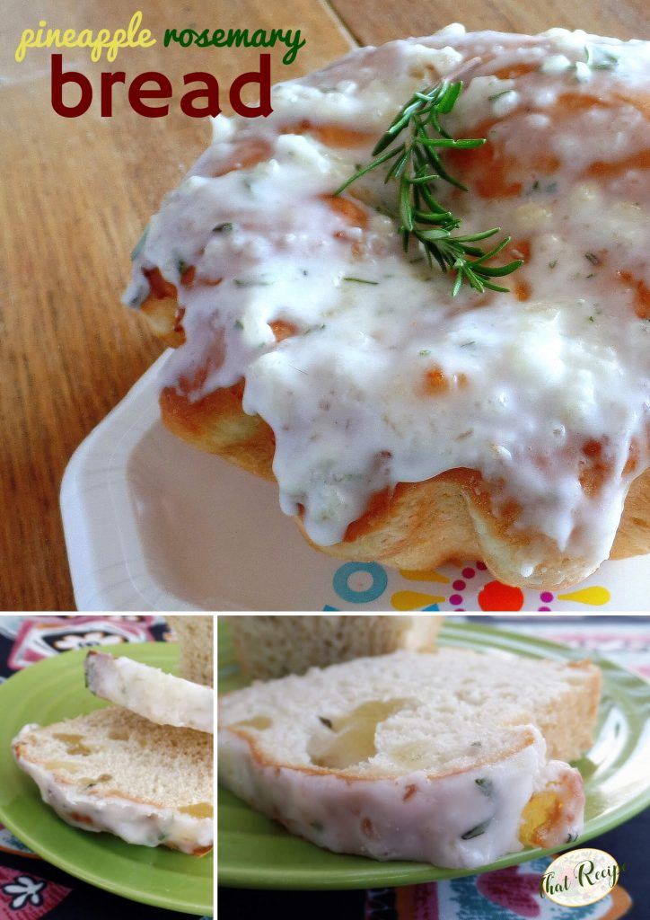 collage of pineapple rosemary bread photos.