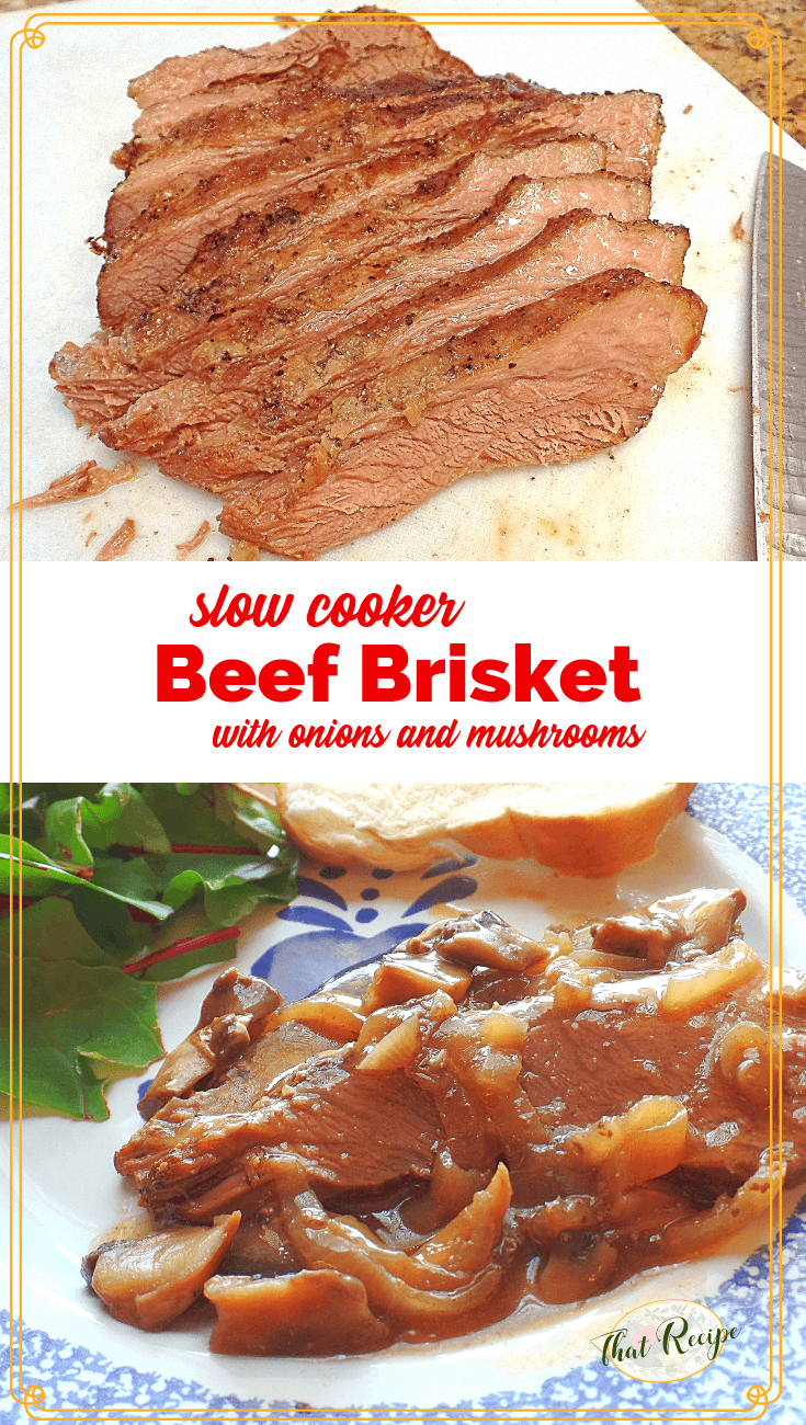 Use your slow cooker to make a tender and juicy beef brisket with lovely mushroom and onion gravy. #beefbrisket #slowcooker