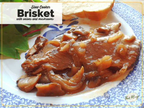 "brisket with mushroom and onion gravy on a plate with text ""slow cooker brisket with mushrooms and onions"""