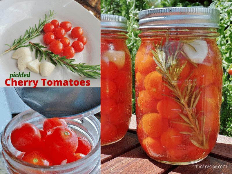 Rosemary and Garlic Flavored Pickled Cherry Tomatoes