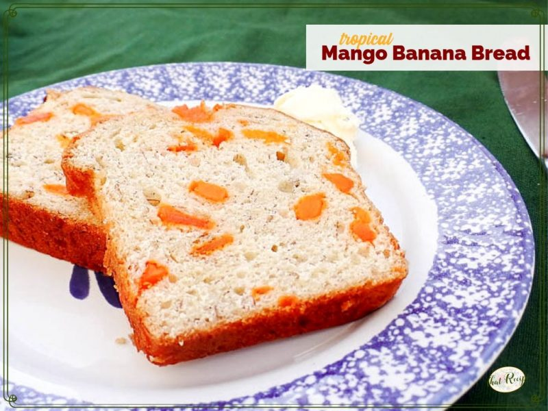 """slices of banana bread on a plate with text overlay """"tropical Mango Banana Bread"""""""