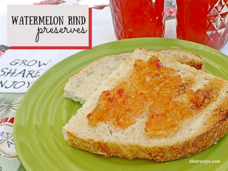 Don't throw away that watermelon rind! Use it to make jam. Unique and delicious Watermelon Rind Preserves make a great homemade gift.