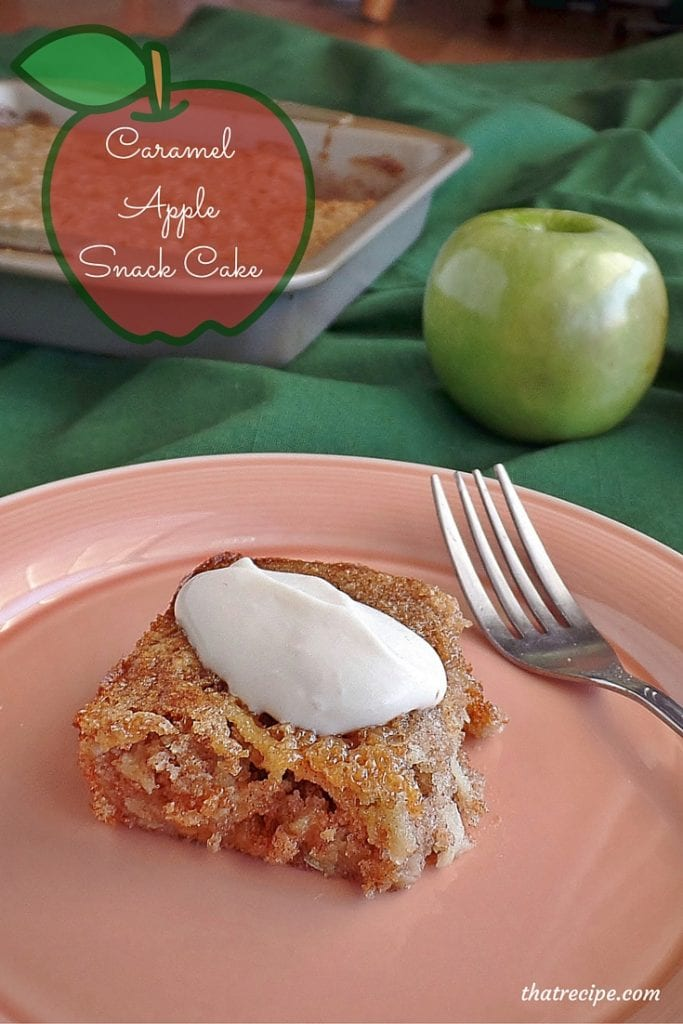 Caramel Apple Cake - healthy low fat snack cake with caramels, grated apples and whole wheat flour. Topped with a Yogurt Whipped Cream.