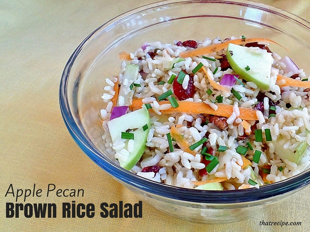 Apple Pecan Brown Rice Salad - a healthy brown rice salad with apples, cranberries, carrots, onions and pecans. vegan, vegetarian, gluten-free
