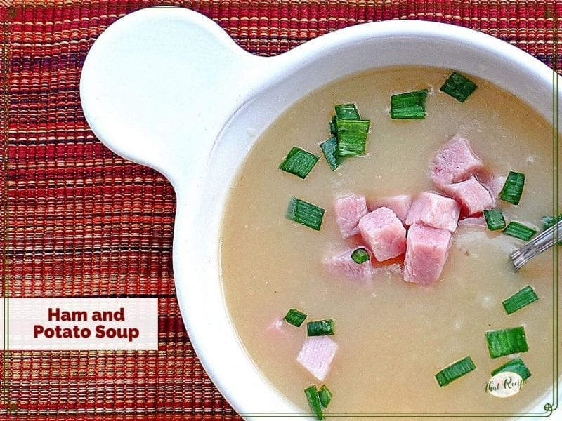 top down view of ham and potato soup