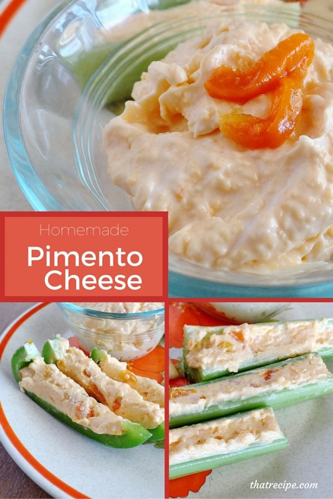 Homemade Pimento Cheese - zesty cheddar cheese spread with red bell peppers mixed in. Great on crackers or a sandwich or stuff in celery or bell peppers.