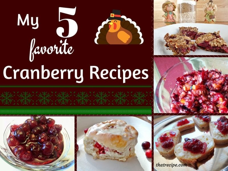 Cranberry Recipes including appetizers, cookies, cinnamon rolls and cranberry sauce two ways.