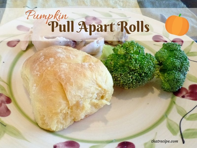 Pumpkin Pull-Apart Roll on a dinner plate with text overlay
