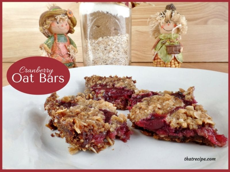Cranberry Oat Cookie Bars - crispy oatmeal cookie with a tangy sweet layer of cranberry sauce.