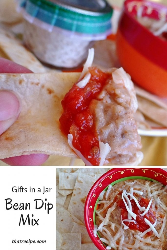 Gifts in a Jar: Bean Dip - combine bean flour and spices to make a simple bean dip. Pack it in a jar to give as a gift. Gluten Free, plus Dairy Free options